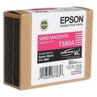 Картридж оригинальный пурпурный (magenta) T580A / C13T580A00, емкость 80 мл.