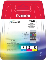 Комплект картриджей оригинальный Canon CLI-8 MultiPack (CLI-8C, CLI-8M, CLI-8Y), объем 3*13ml.