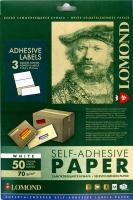 Lomond 2100015 универсальная матовая самоклеящаяся деленая бумага 3 части (210х99мм), A4  70 g/m, 50 л.