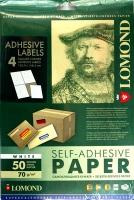 Lomond 2100025 универсальная матовая самоклеящаяся деленая бумага 4 части (105х148.5мм),A4  70 g/m, 50 л.