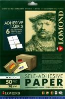 Lomond 2100035 универсальная матовая самоклеящаяся деленая бумага 6 частей A4(105х99мм), 70 g/m, 50 л.