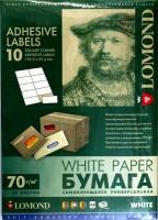 Lomond 2100055 универсальная матовая самоклеящаяся деленая бумага 10частей (105х59мм), A4 70 g/m, 50 л.