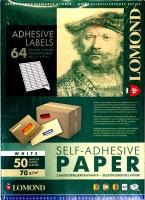 Lomond 2100205 универсальная матовая самоклеящаяся деленая бумага 64части (48,5х16,9мм) A4  70 g/m, 50 лист.