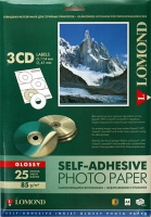Lomond 2411023 Самоклеящаяся Глянцевая -Наклейки на CD 3-дел.( D-41/114мм.), , A4 85g/m, 25л.