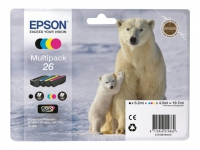 Комплект картриджей оригинальный (Multipack) Epson 26 (Bl / C / M / Y), объем 6,2 мл черный, 4,5 мл. цвет.