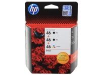 Набор картриджей оригинальный HP F6T40AE (№46),  3 картриджа (2 черных + 1 цветной) для DJ Adv 2020hc/2520hc