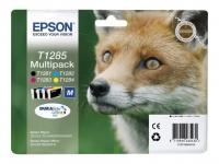 Комплект картриджей оригинальный Epson T1285 / C13T12854010 (Bl, C, M, Y), объем 5,9 мл. черный, 3,5 мл. цвет.