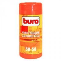 Туба BURO с универсальными чистящими салфетками , 50 влажных + 50 сухих