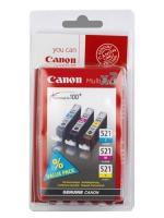 Комплект картриджей оригинальный Canon CLI-521C, CLI-521M, CLI-521Y. Объем 3 *9 мл.