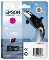 Картридж оригинальный пурпурный Epson T7603, объем 25,9 мл.