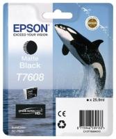 Картридж оригинальный матовый черный Epson T7608, объем 25,9 мл.