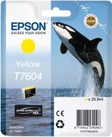 Картридж оригинальный желтый Epson T7604, объем 25,9 мл.