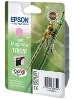 Картридж оригинальный (в технологической упаковке) светло-пурпурный (light magenta) Epson T0826 / C13T08264A, объем 7,5 мл.