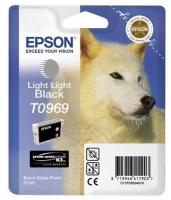 Картридж оригинальный (блистер) светло-серый (light light black) Epson T0969, объем 11,4 мл.