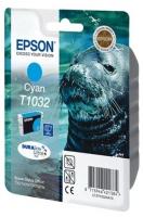 Картридж оригинальный (блистер) увеличенной емкости голубой (cyan) Epson T1032 / C13T103214A10, объем 11,1 мл.