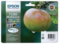 Комплект картриджей оригинальный Epson T1295 / T129540 / C13T12954010 (Bl, C, M, Y), объем 12,1 мл. черный, 7 мл. цвет.