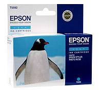 Картридж оригинальный (в технологической упаковке) голубой (cyan) Epson T5592 (C13T55924010), ресурс 400 стр.